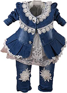 Spring Autumn Infant Little Baby Girls Clothing Set 3 Pieces Sets T Shirt Jacket and Jeans