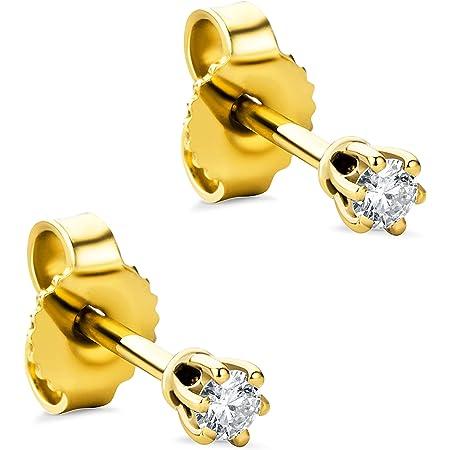 Orovi Pendientes para mujer con diamantes de oro amarillo de 9 quilates (375) y diamantes brillantes de 0,08 quilates, hechos a mano en Italia