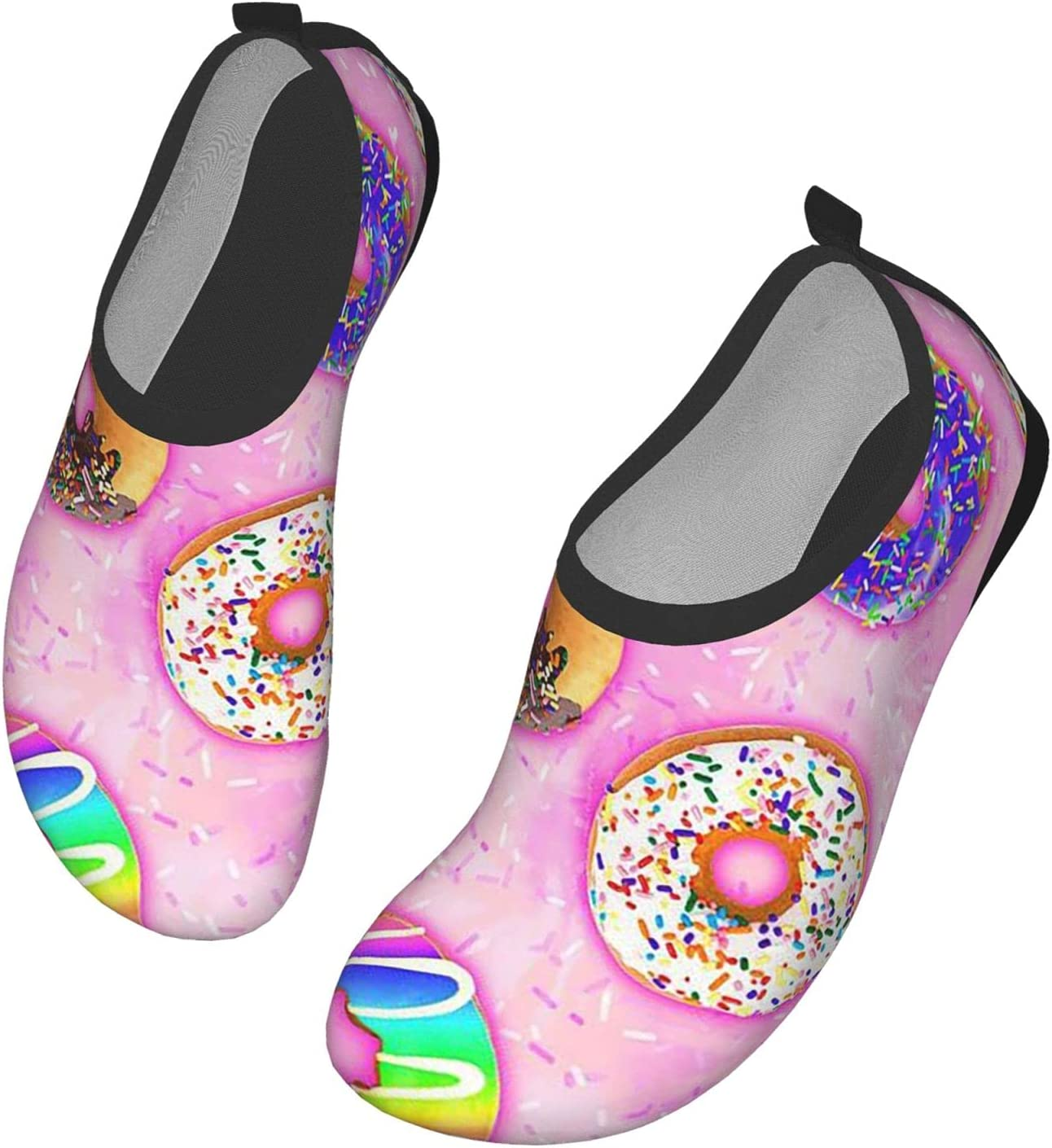 Womens Mens Summer Water Shoes Colorful Pink Donnuts Sweet Delicious Dessert Barefoot Shoe Quick Dry Aqua Socks
