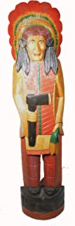 WorldBazzar 5 Foot Cigar Indian Huge Hand Crafted Wooden Sculpture Cowboys Horseshoes Shotgun Old west Hunting Scratch and Dent Sale