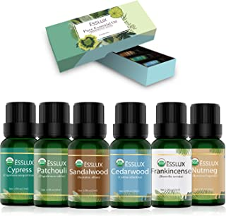 Woodsy Essential Oils Set, ESSLUX 100% Natural Aromatherapy Essential Oils Gift Set for Diffuser, Cedarwood, Patchouli, Sandalwood, Frankincense, Cypress, Nutmeg Oil, 6x10ml