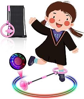 Pelota de salto de tobillo juego de cuerda para saltar para ni/ños pelota de columpio deportiva bola de salto intermitente de luz LED plegable con bolsa de almacenamiento anillo de salto de tobillo