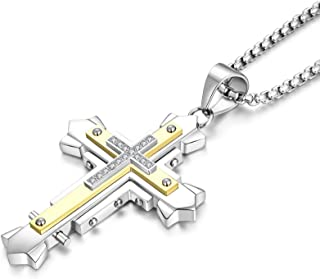 Cross Necklace for Men Stainless Steel Crucifix Pendant...