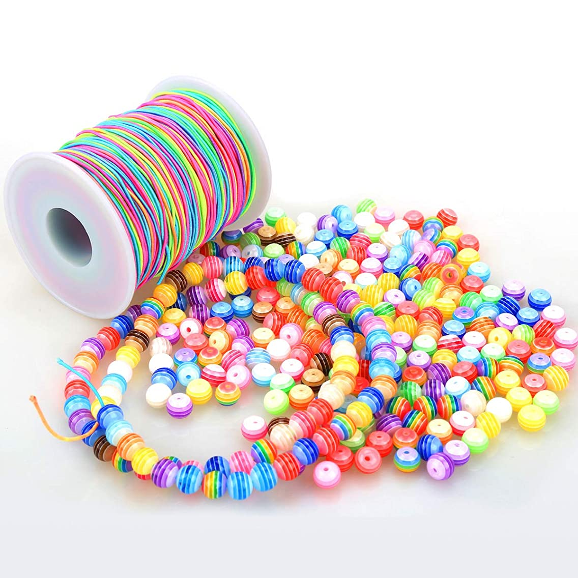 300 PCS Beads and 100 m Elastic Cord Beading Threads Stretch String Fabric Crafting Cords for Jewelry Making, Rainbow