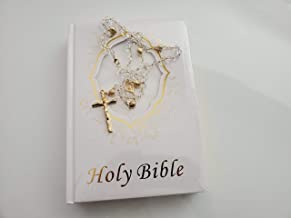 Bible in English for Wedding and Quinceanera White and Gold and Crystal Rosary