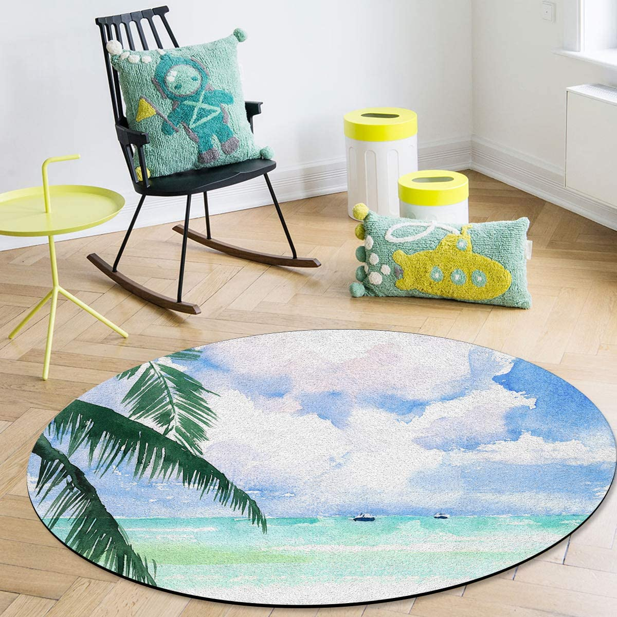 OneHoney 4 Max 58% OFF Feet Round Area Rugs and White Blue Clouds Indoo Sky store
