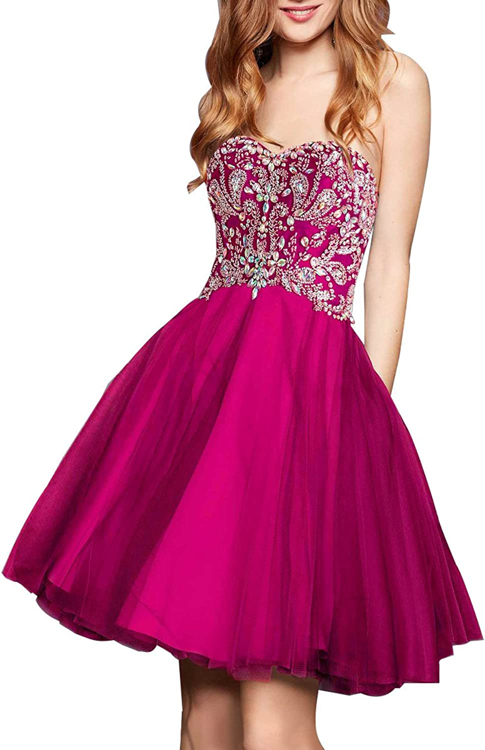 Beaded Homecoming Gown Sweethart Tulle Short Aline Formal Prom Prom Evening Dresses