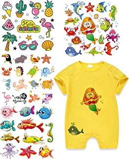 Mermaid Iron On Patches Fish Heat Transfer Stickers with Colorful Animals Appliques Design Decoration A-Level Washable for T-Shirt Jeans Bags(4 Set)
