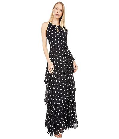 Tahari by ASL Sleeveless Polka Dot Chiffon Maxi with Tiered Skirt Detail (Black/White Dot Stripe) Women