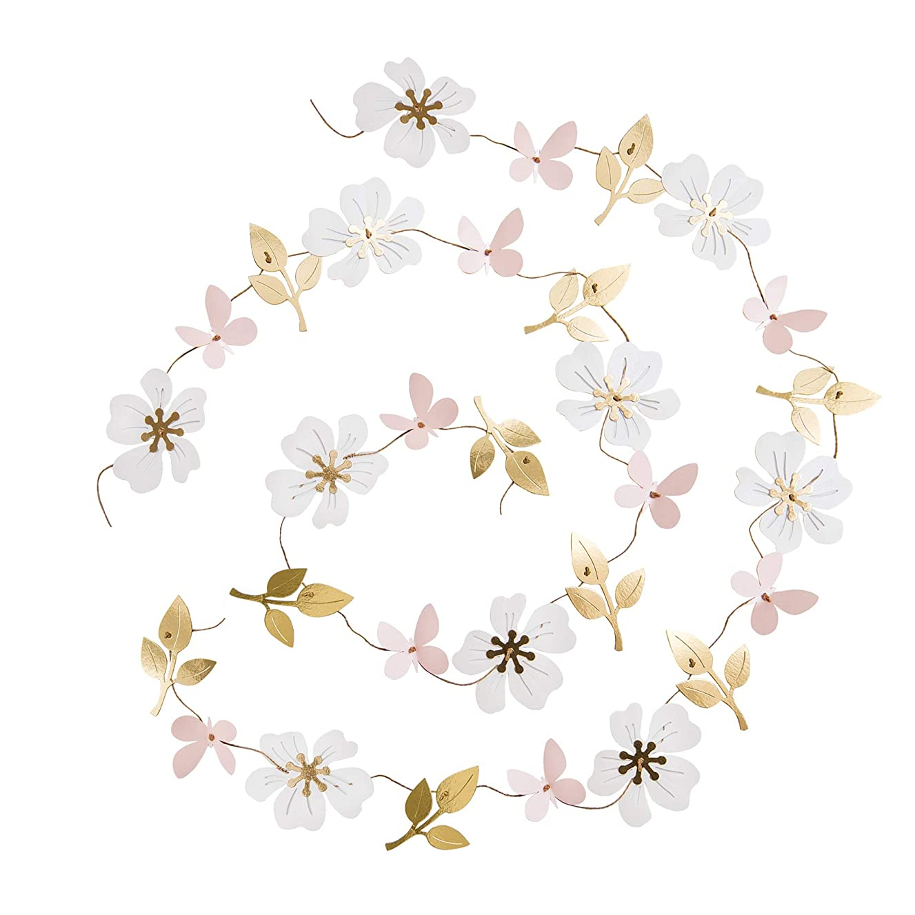 Ling's moment 13FT Paper Butterfly Flower Leaves Garland, Set of 2, Hanging Flower Backdrop Garland for Baby Nursery Birthday Party Wedding Bridal Shower Dorm Room(Gold+Pastel Pink+White)