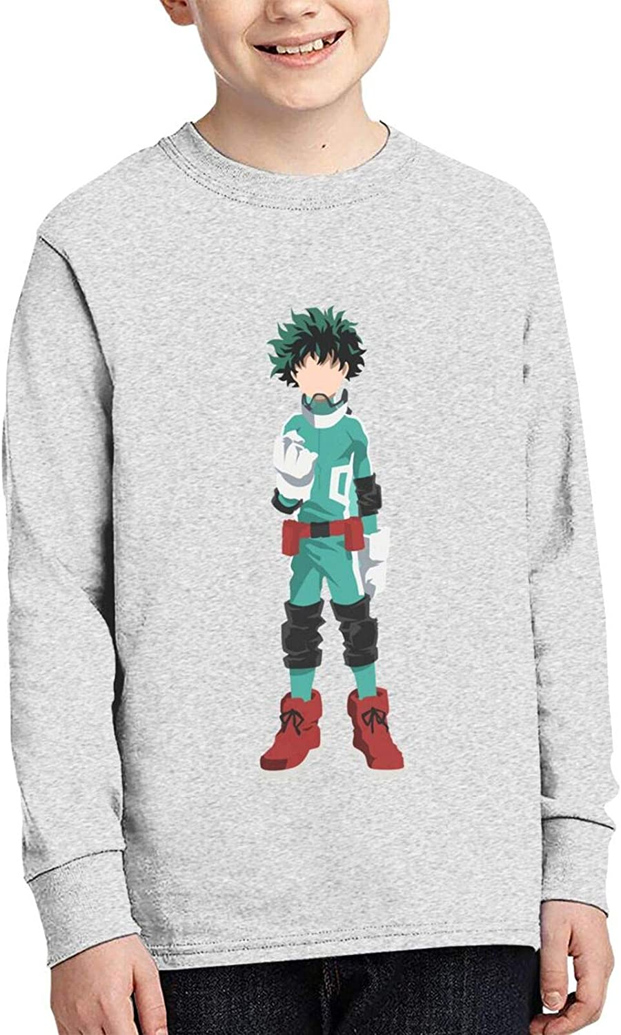 Teens Boys Cotton 3D Printing Funny Round Neck Long Sleeve T Shirt Anime Graphic Tee Shirts Top