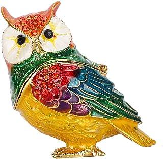 دارنده جواهرات ، Delaman Crystal Owl Figurine Trinket Box Organizer ذخیره سازی جواهرات قابل حمل خانه صنایع دستی تزئینی هدیه منحصر به فرد