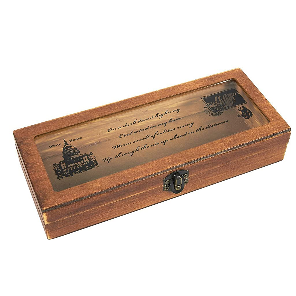 Pen Pencil Storage Holder Stationery Box - Vintage Wooden Pencil Holder Craft Case with White House Theme Lock Lid, 7.75 x 3.25 x 1.5 inches