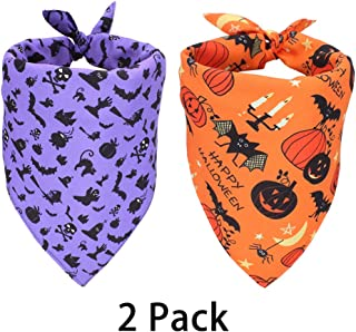 WONDERPUP Halloween Dog Bandana Ghost Castle Orange Triangle Bibs Scarf Accessories for Dogs Puppy Cats 2PCS