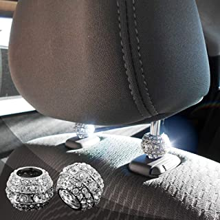 Bling Car Decor Icy Crystal Car Seat Headrest Decoration Charms, Bling Car Accessories For Women, Car Bling Car Charms For Seat, Rhinestone For Car Interior Accessories, Headrest Collars (Round 2 pc)