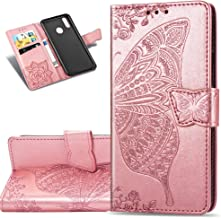 HMTECHUS Huawei Y7 2019 case Elegant Embossed Flower Card Slots Bookstyle Wallet PU Leather Durable Magnetic Closure Flip Kickstand Shockproof Cover for Huawei Y7 2019 Butterfly Rose Gold SD