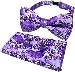 Men Big Boy Paisley Handkerchief Bow Tie Set Bowties Cufflinks Pocket Square Set