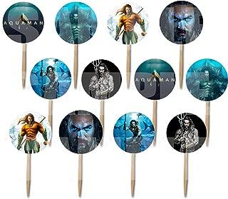 Aquaman Aqua Man Cupcake Picks Double-sided Images Cake Topper -12, Comics Super Hero