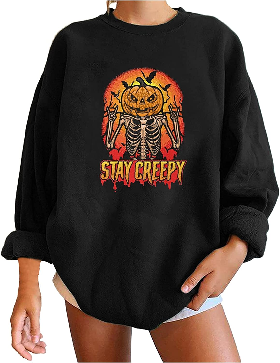 UOCUFY Halloween Shirts for Women,Womens Crewneck Funny Printed Tops Oversized Comfy Blouses Long Sleeve Pullover Sweatshirts