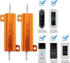 YiePhiot 2PCS 50W 25 Ohm Resistor Aluminum Case Wirewound Chassis Mounted -for Ring Doorbell, Nest Hello Doorbell, SkyBell Doorbell Etc