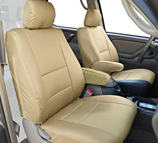 Iggee Artificial Leather Custom Made Original fit 2 Front Seat Covers & 2 Armrest Covers (Beige) Designed for 2000-2003 Toyota Tundra