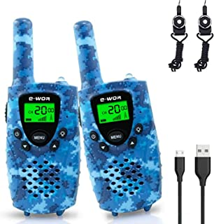 Kids Walkie Talkies Rechargeable, Toys for 3-12 Years Old Boys and Girls, 22 Channels 4 Miles Long Range 2 Way Radios with Flashlight, 2019 Top Toys Xmas Gift for Kids
