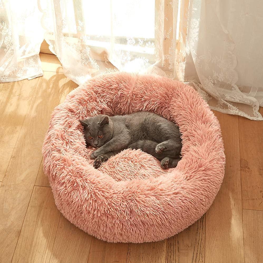 小さい徴収運河Skazi ペットベッド 猫ベッド 犬ベッド クッション 丸型 シャギー素材 ふわふわ 可愛い 伸縮性ある崩れにくい 洗える 冬用 あったか 直径60cm ピンク