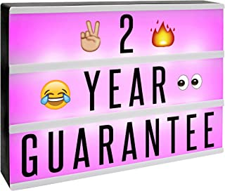 A4 Cinematic Colour Change Lightbox   205 Letters & Emoji   Multicoloured LED Remote Controlled Light Up Box Sign   Battery or USB Powered   M&W