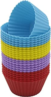 Checkered Chef Silicone Cupcake Moulds - Reusable, Non Stick Muffin and Cup Cake Liners - Baking Cups - 24 Pack Cupcake Wr...