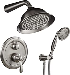 AUKTOPT Rainfall Head System with Handheld Wall Mounted Faucet Fixture Combo Set, Brushed (Contain Shower Trim Kit with Rough-In Valve)