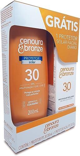 Kit Protetor Solar Fps30 + Protetor Facial Fps30, Cenoura e Bronze