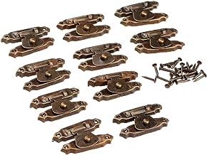 10st Iron hangslotbeugels Vintage decoratieve Jewelry Gift Box Koffer Grendel Grendel houten meubelen gespsluiting Lock (C...