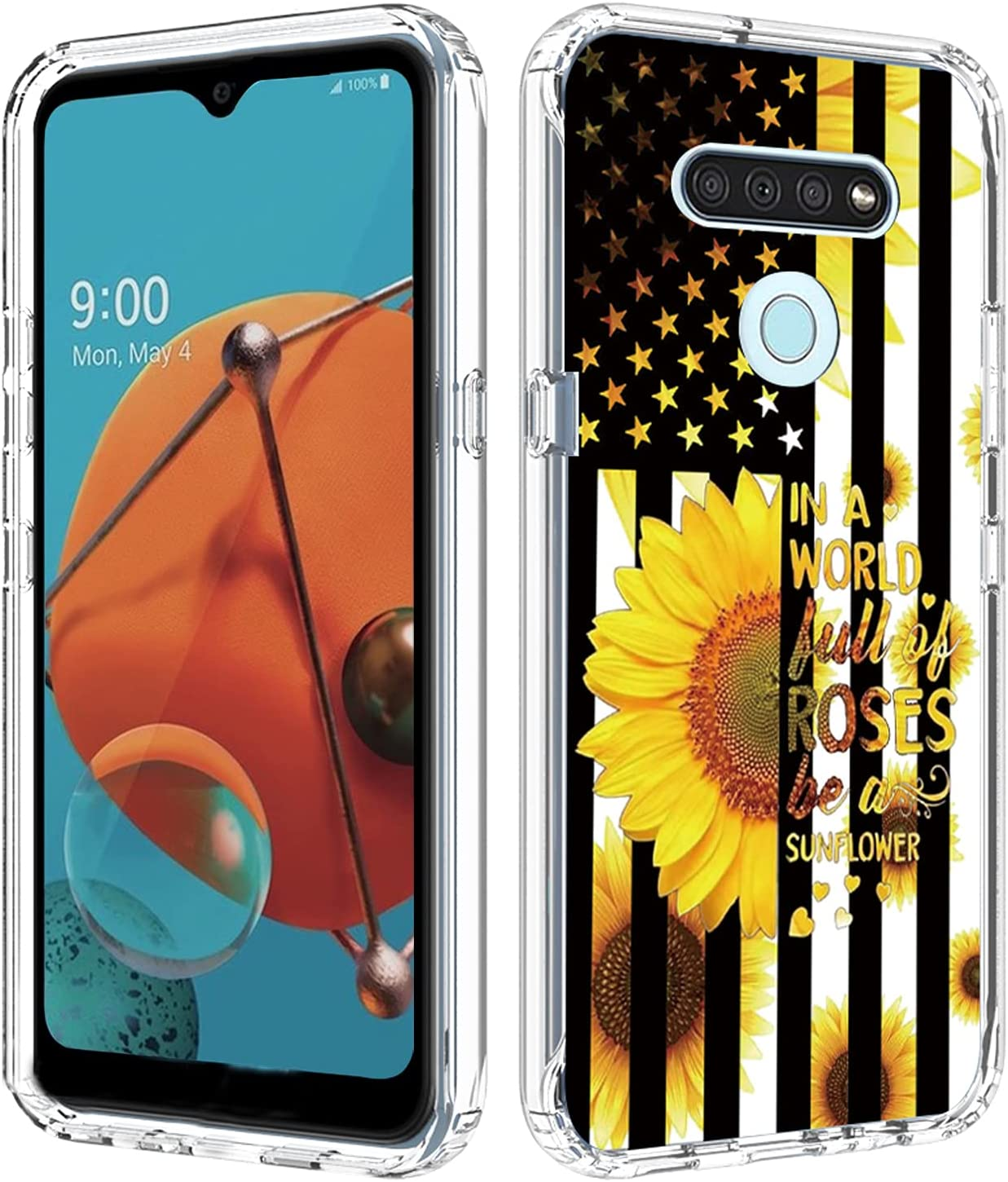 Compatible with LG Reflect Case, LG K51 Phone Case Clear for Women Men with Sunflower Flag Q51 Full Body Heavy Duty Protective Cover