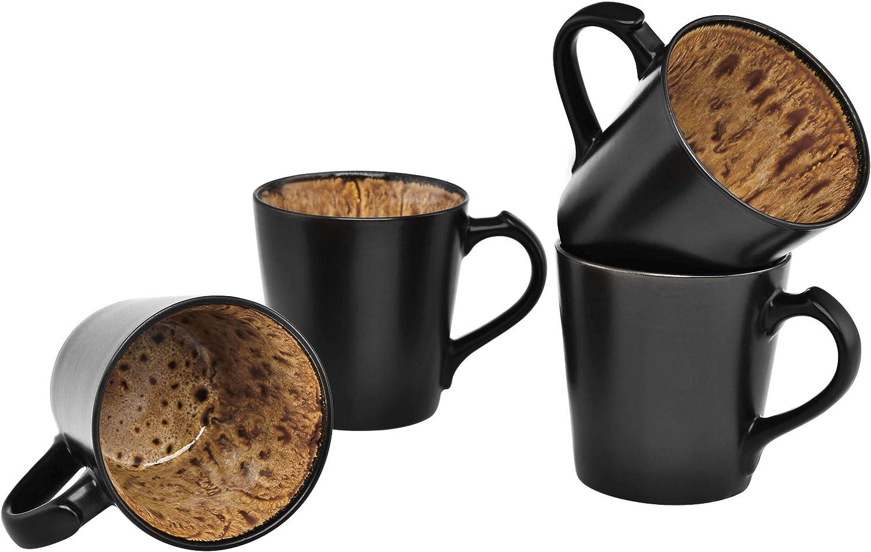 Culver VOG Ceramic Mug 14-Ounce of Black Dallas Mall Limited time sale 4 Set Brown
