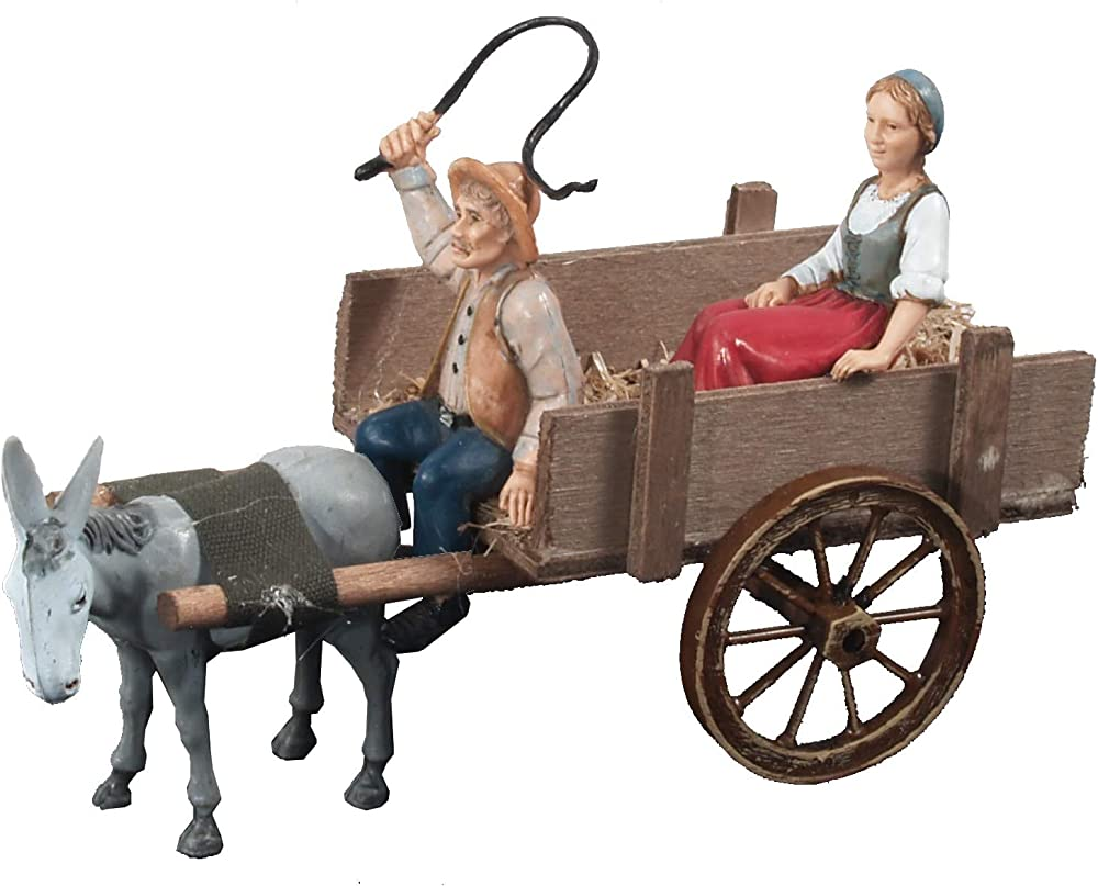 Ferrari & arrighetti contadino con donna sul carro al traino,personaggi del presepe B50707