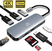 NITASA USB C Hub, 8 in 1 USB C Adapter with Ethernet Port, 4K USB C to HDMI, 3 USB 3.0 Ports, PD Type C Charging Port, SD TF Card Reader, Compatible for MacBook Pro and Other Type C Laptops
