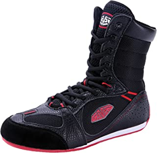 Men's Boxing Shoes High Top Indoor Fitness Sneakers Breathable Anti Skid Buffer for Gym Squat Wrestling