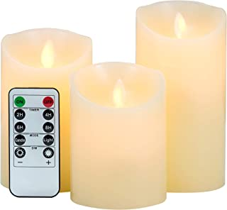 3-Pack LED Flameless Candles: LOFTEK Dripless Real Wax Mood Light with Realistic Dancing Flame, 10-Key Remote with Timer, Cordless Pillars Tea Light, 360 Hours Battery Life, 4