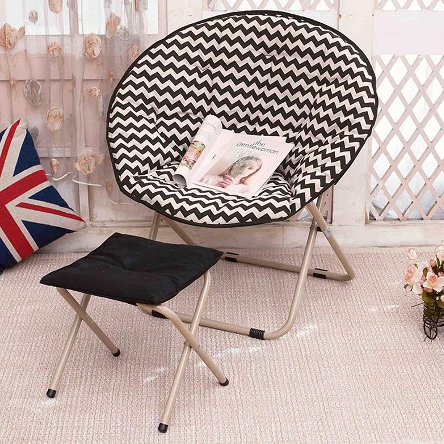 Zcxbhd Large Lounge Chair Adult Moon Chair Sun Loungers Lazy Chair Foldable Seat Round Chair