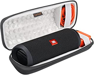 Canboc Shockproof Bluetooth Speaker Carrying Case for JBL Flip 3 & 4, USB Cable & Power Charger   Durable & Impact Resistant EVA Exterior, Ergonomic Carrying Wrist Strap   for Storage, Travel, More