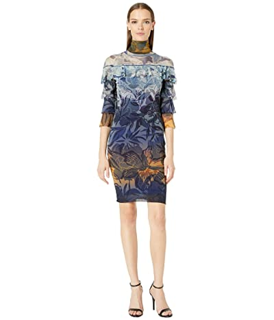 FUZZI Ruffle Degrade Print Dress (Avio) Women