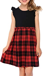 Arshiner Girl's Casual Ruffle School Plaid Dress Party Dresses for 4-13 Years