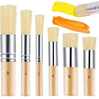 6 Pieces Wooden Stencil Brush 6 Sizes Natural Stencil Brushes Stipple Paint Brush Painting Bristle Brushes Wood Bristle Template Brush for Acrylic Oil Watercolor Painting Project Card DIY Crafts