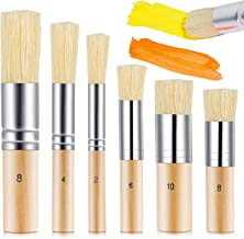 6 Pieces Wooden Stencil Brush 6 Sizes Natural Stencil Brushes Stipple Paint Brush Painting Bristle Brushes Wood Bristle Te...