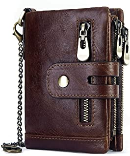 Aiello's Story Men's Genuine Leather Wallet RFID Blocking Card Case Double Zipper Coin Pocket Purse with Anti-Theft Chain ...