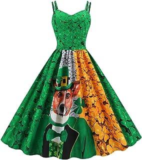 فستان نسائي عيد القديس باتريك بطبعة ريترو فستان نسائي أخضر ثلاث أوراق شامروك البرسيم