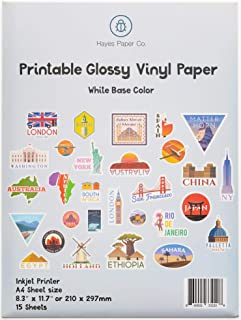 HAYES PAPER, Vinyl Sticker Paper for Inkjet Printers, 15 Premium Glossy White Waterproof Vinyl Sheets, A4 Size