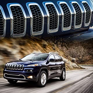 XBEEK 7pcs Gloss Black Mesh Honeycomb with Chrome Ring Front Grille Grill Inserts Covers for 2014-2018 Jeep Cherokee