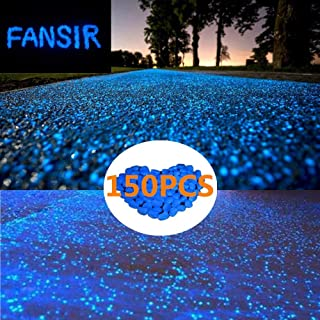 150pcs Glow in The Dark Garden Pebbles,Glow Stones Rocks for Walkways Outdoor Decor Aquarium Fish Tank Garden Decorative Stones for Path Lawn Yard Walkway (Blue)