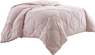 Chezmoi Collection Pink Goose Down Alternative Comforter/Duvet Insert Stitched Geometrical Pattern w Corner tabs, Queen
